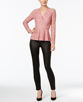 Thalia Sodi Lace Peplum Top & Coated Jeggings, Only at Macy's