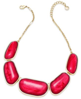 Image of Charter Club Gold-Tone Colored Stone Necklace, Only at Macy's