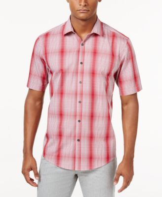Image of Alfani Men's Variant Grid-Pattern Shirt, Only at Macy's