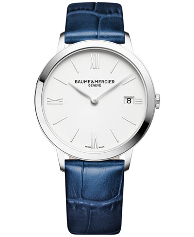 Baume & Mercier Women's Swiss Classima Blue Leather Strap Watch 36mm M0A10355