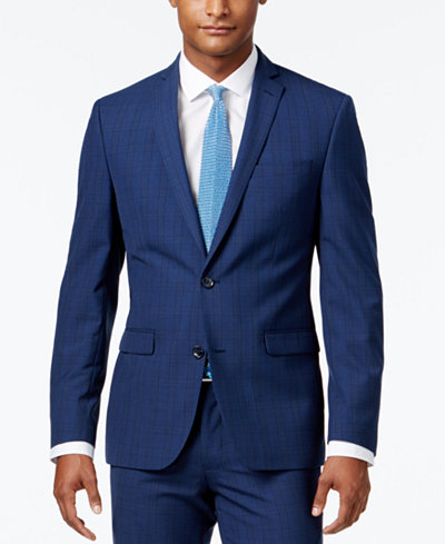 Bar III Men's Slim-Fit Blue Plaid Jacket, Created for Macy's ...