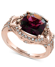 EFFY® Final Call Garnet (3-3/8 ct. t.w.) and Diamond (1/2 ct. t.w.) Ring in 14k Rose Gold