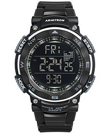 Men's Digital Black Silicone Strap Watch 51mm 40-8254BLK