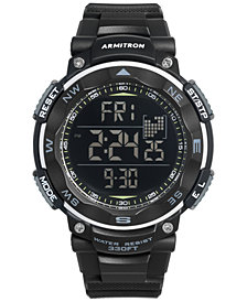 Armitron Men's Digital Black Silicone Strap Watch 51mm 40-8254BLK