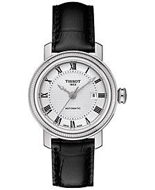 Tissot Women's Swiss Automatic T-Classic Bridgeport Black Leather Strap Watch 29mm T0970071603300
