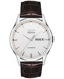 Tissot Men's Swiss Automatic Heritage Visodate Brown Leather Strap Watch 39mm T0194301603101