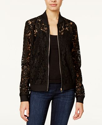 Say What? Juniors' Lace Bomber Jacket