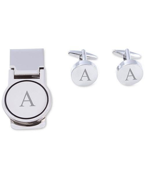 Men's Monogrammed Cuff Links & Money Clip Set