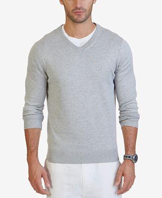 Nautica Mens V Neck Classic Fit Sweater
