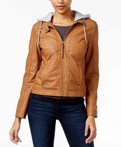 Celebrity Pink Juniors' Hooded Faux-Leather Jacket - Coats - Women ...