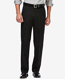 Haggar Men's Premium No Iron Khaki Classic Fit Flat Front Hidden Expandable Waist Pant