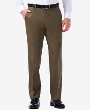 Men's Premium No Iron Khaki Classic Fit Flat Front Hidden Expandable Waist Pant