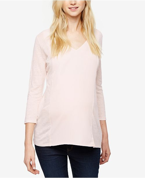 64f2a67aa2307 A Pea in the Pod Maternity V-Neck Linen Top & Reviews - Maternity ...