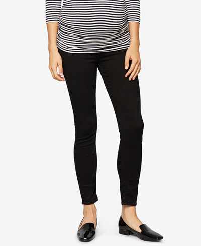 7 For All Mankind Maternity Black Wash Skinny Jeans