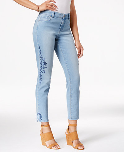 Style & Co Petite Embroidered Calabasas Wash Skinny Jeans, Created for Macy's