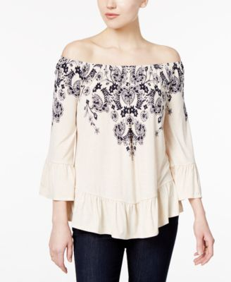 Image of Style & Co Off-The-Shoulder Peplum Top, Only at Macy's