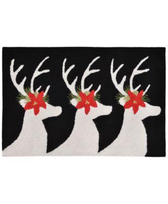 Liora Manne Front Porch Indoor/Outdoor Reindeer Black 2' x 3' Area Rug