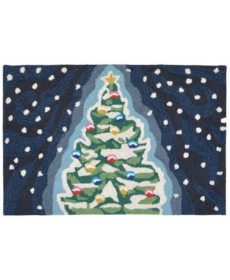 Liora Manne Front Porch Indoor/Outdoor Xmas Tree Midnight 2' x 3' Area Rug