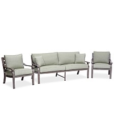 Tara Aluminum Outdoor 3-Pc. Seating Set (1 Sofa & 2 Club Chairs), Created for Macy's