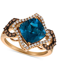 Le Vian Chocolatier® Deep Sea Blue Topaz™ (3-3/8 ct. t.w.) and Diamond (3/8 ct. t.w.) Ring in 14k Rose Gold