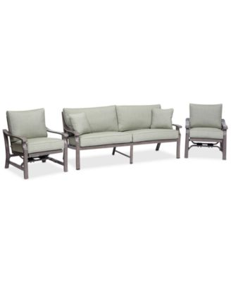 Tara Aluminum Outdoor 3-Pc. Seating Set (1 Sofa & 2 Inside Rocker Chairs), Created for Macy's