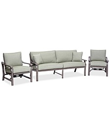 Tara Aluminum Outdoor 3-Pc. Seating Set (1 Sofa & 2 Rocker Chairs), with Sunbrella® Cushions, Created for Macy's