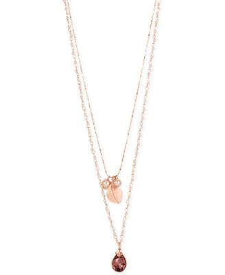 M. Haskell for INC International Concepts Imitation Pearl, Leaf and Crystal Layer Pendant Necklace, Only at Macy's