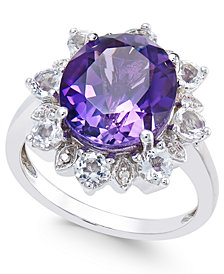 Amethyst (5 ct. t.w.) & White Topaz (1 ct. t.w.) Ring in Sterling Silver