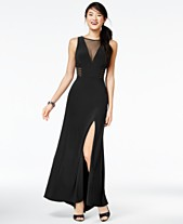 871aa7ada2 Morgan   Company Juniors  Illusion Front-Slit A-Line Gown