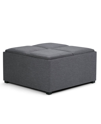 Avalon Fabric Coffee Table Storage Ottoman Direct Ship Furniture Macy 39 S