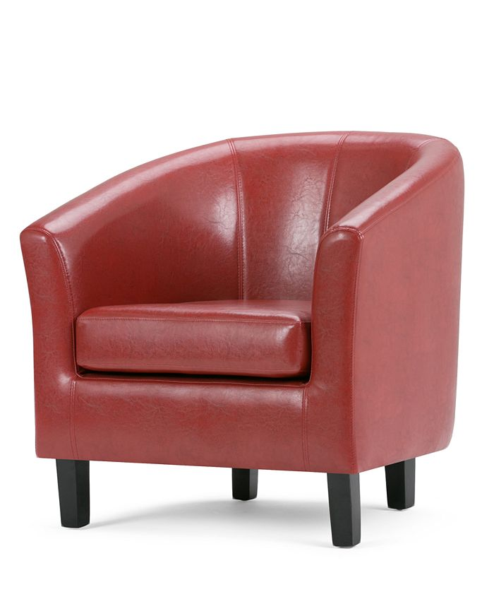Simpli Home - Faux Leather Tub Chair, Direct Ship