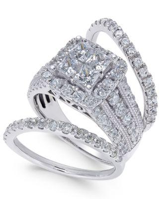 diamond 3pc bridal set 3 ct tw in 14k white