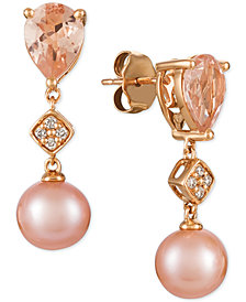 Le Vian® Peach Morganite™ (1-1/2 ct. t.w.), Pink Cultured Freshwater Pearl (9mm), and Diamond Accent Drop Earrings in 14k Rose Gold