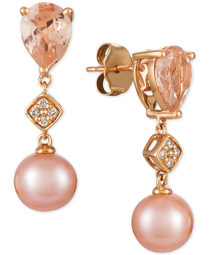 Le Vian - Peach Morganite™ (1-1/2 ct. t.w.), Pink Cultured Freshwater Pearl (9mm), and Diamond Accent Drop Earrings in 14k Rose Gold