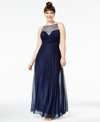 B Darlin Trendy Plus Size Embellished Pleated Gown