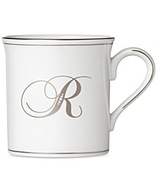 Federal Platinum Monogram Mug, Script Letters