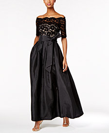 Vince Camuto Off-The-Shoulder Lace Taffeta Gown
