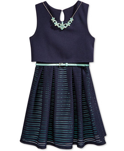 Beautees Belted Skater Dress with Necklace, Big Girls (7-16)
