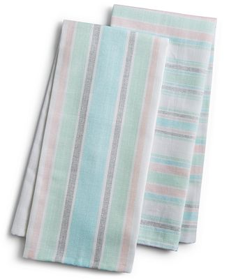 Martha Stewart Collection Pastel Striped Kitchen Towels, Created for
