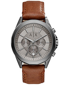 A|X Armani Exchange Men's Chronograph Brown Leather Strap Watch 44mm AX2605