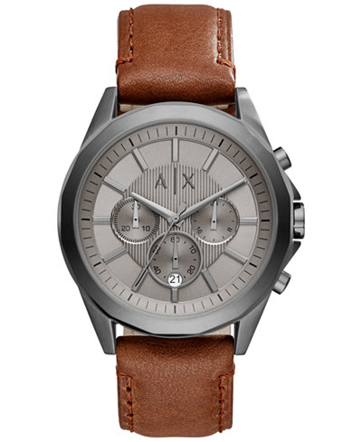 A|X Armani Exchange Men's Chronograph Brown Leather Strap Watch 44mm AX2605