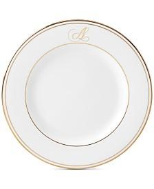 Lenox Federal Gold Monogram Salad Plate, Script Letters