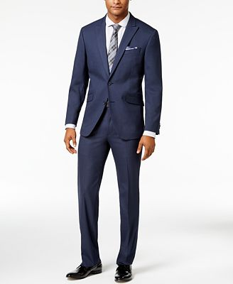 Kenneth Cole Reaction Men's Slim-Fit Navy Grid-Pattern Suit ...
