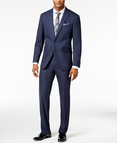 Kenneth Cole Reaction Men's Slim-Fit Navy Grid-Pattern Suit ...