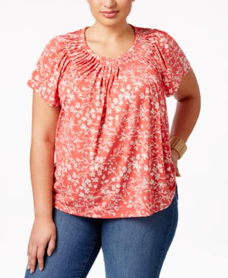 Image of Style & Co Plus Size Floral-Print Pleated-Neck Top, Created for Macy's
