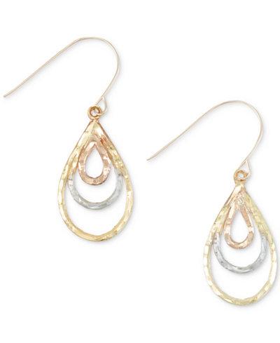 Tri-Tone Hammered Teardrop Drop Earrings in 10k Tri-Color Gold