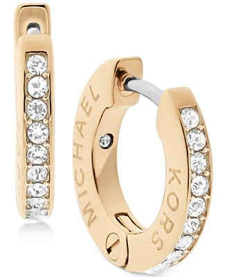 Michael Kors Pavé Engraved Hoop Earrings