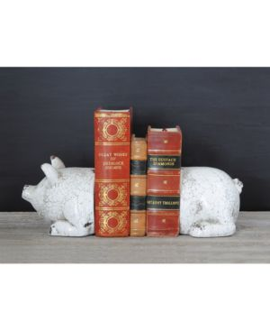 Image of 2-Pc. Terra Cotta Pig Bookend Set
