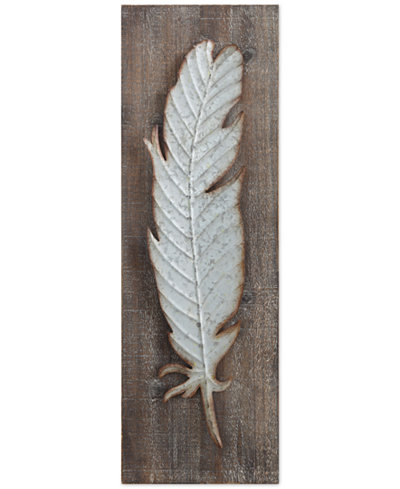 Wood Wall Decor with Metal Feather