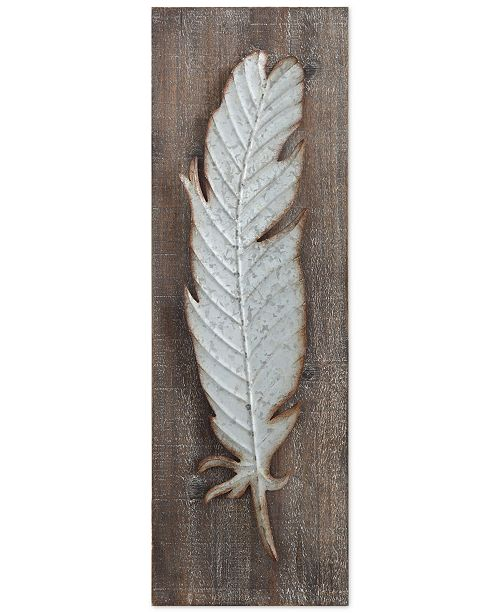 3R Studio Wood Wall Decor with Metal Feather